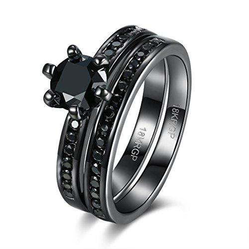 FENDINA Princess Cut 18K Black Gold Plated CZ Engagement Anniversary Birthday Gift Rings