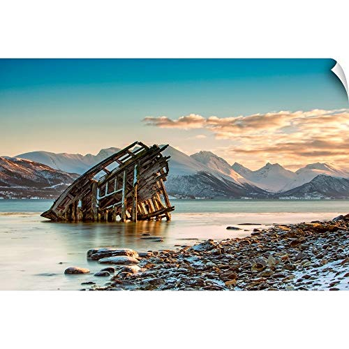 Canvas on Demand Wall Peel Wall Art Print Entitled Old Viking Shipwreck in Tisnes, Norway ()