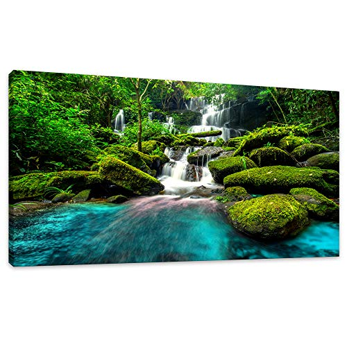 (Canvas Wall Art Waterfall Nature Painting Canvas Prints Panoramic Canvas Artwork Prints Contemporary Pictures Green Forest Trees River Rocks for Home Decoration Office Wall Decor Size:20