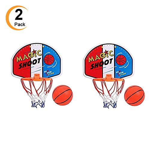 2 PACK Mini Indoor Outdoor Basketball Hoops with Pump and Balls Simple Assembly, Easy Clip-on Mount Game for Kids Children Or Adults Party Favors Supplies by Eforoutdoor