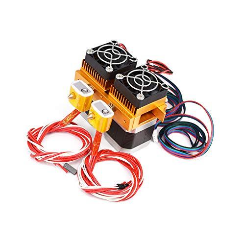 Jiaboyu 12V MK8 Dual Extruder Hotend DIY 3D Printer All Metal Assembled (0.2mmNozzle Print Head)