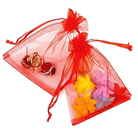 """10 RED Organza Gift Bags 10x15cm 4x6/"""" Wedding Favour Jewellery Pouches UK Seller"""
