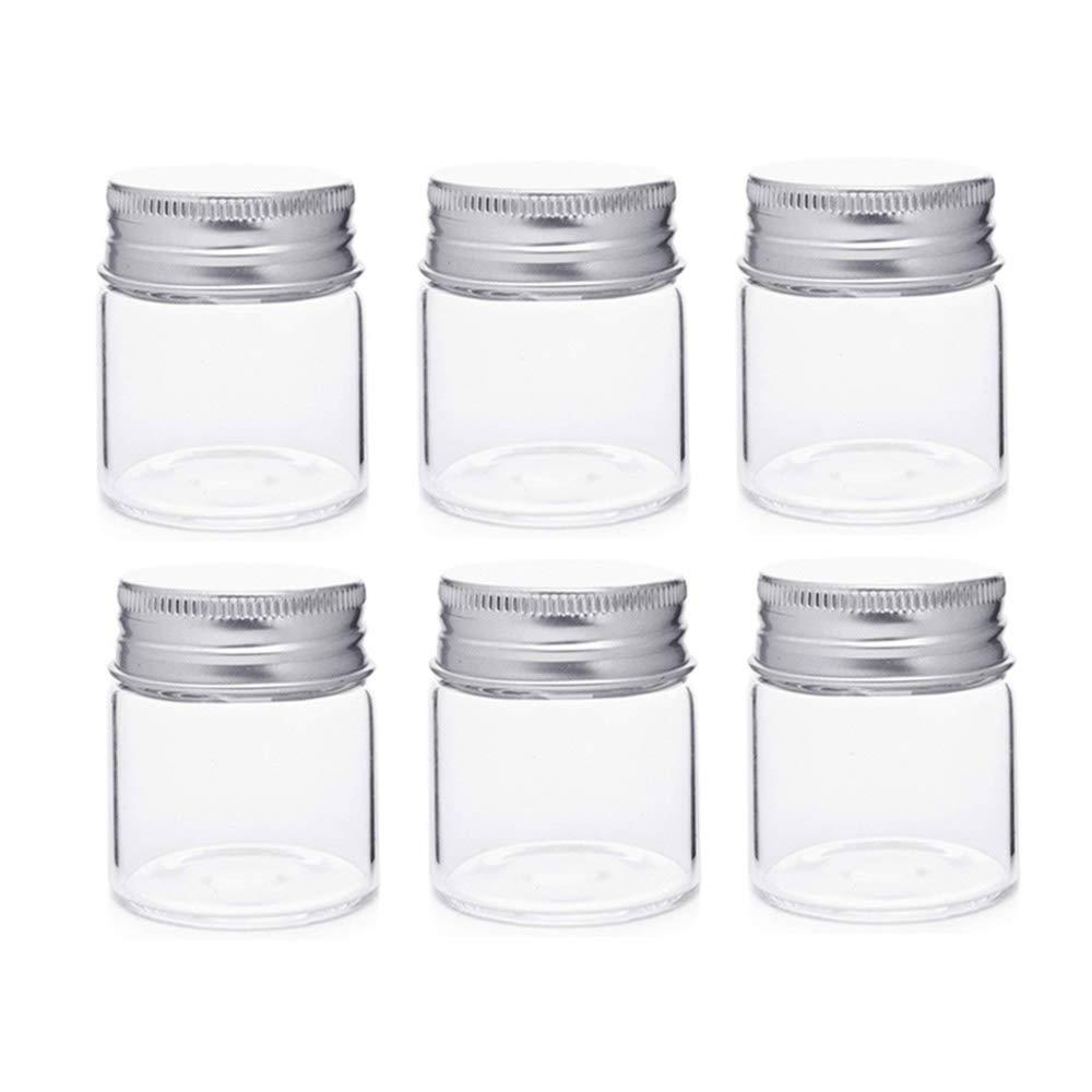 barattoli con tappo a vite in alluminio campioni di deliziosi vasetti vuoti piccoli contenitori Danmu art 6 pezzi 50/ml 4,7/x 5/cm flaconcini in vetro trasparente