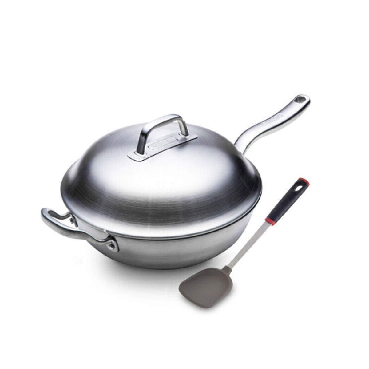 鍋、台所は12.8インチのステンレス鋼の中華鍋、電磁調理器およびガスこんろが付いている標準が付いています、銀製の白(送信シリコーンのシャベル) (Color : Silver)  Silver B07QNTZQ7R