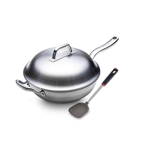 Cacerola, Cocina Estándar de 12 pulgadas Wok de acero inoxidable, estufa de gas y cocina de inducción que se pueden usar, blanco plateado (enviar pala de ...