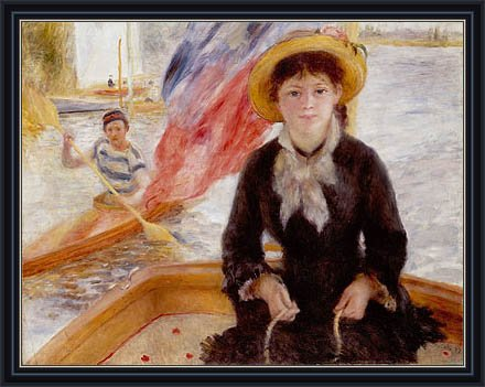 Framed Canvas 1877 (Renoir (Woman in Boat with Canoeist, 1877) Canvas Art Print Reproduction Framed with 2.6