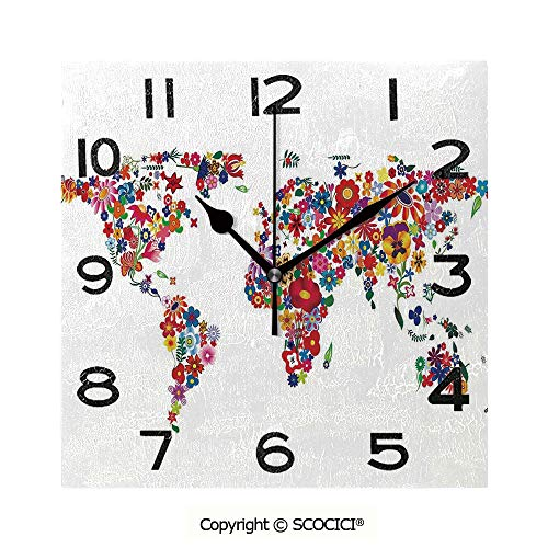 Frameless Clock 3D DIY Decorative Clock Bunch Of Flower Petals Essence Fragrance Garden Growth Theme Atlas Image Decorative 8 Inch Large Size Square Wall Clock for Living Room Bedroom Office Hotel