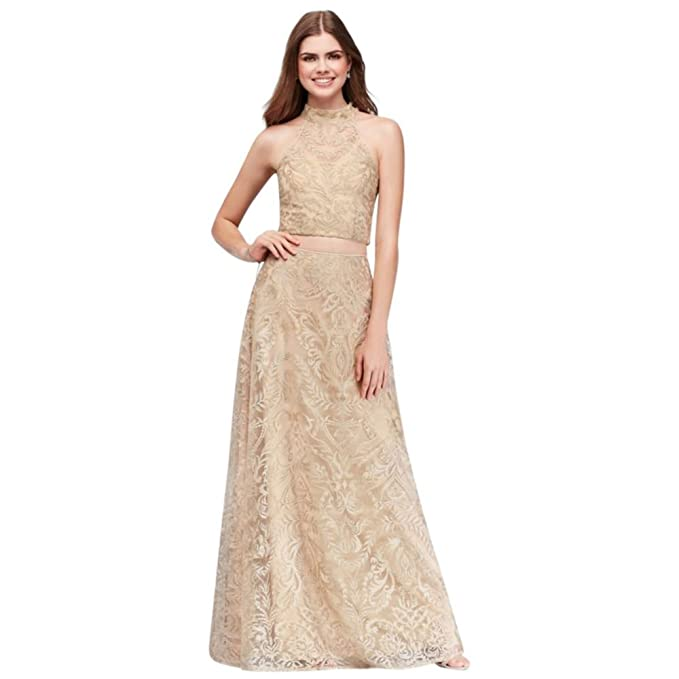 Davids Bridal High Neck Embroidered Illusion Two Piece Prom Dress