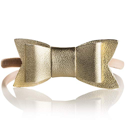 (BirdRock Baby Leather Bow Headbands - Elastic Band Hair Bows for Girls (Gold))