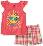 Kids Headquarters Little Girls' Toddler 2 Piece Short Set-Cap Sleeves, Coral/Yellow, 3T