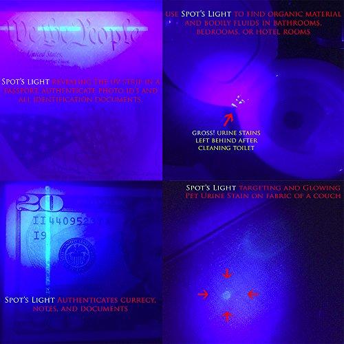 Spots Light UV Blacklight Flashlight Silver LED Ultraviolet - Black light bedrooms