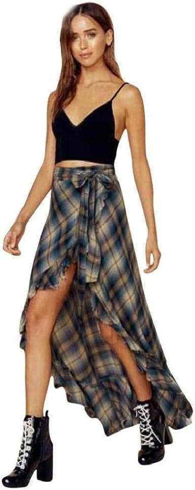 Falda Asimétrica Elegante Una Falda Plisada Satén Línea A Cuadros ...