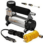 #LightningDeal Portable Air Compressor, Hausbell Air Compressor Kit Mini DC12V Multi-Use Oil-Free Air Tools Tire Inflator