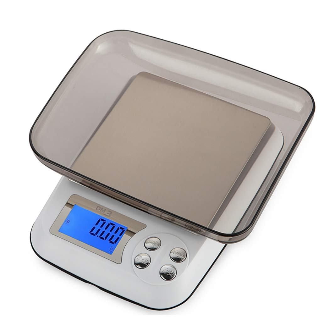 DPPAN Electronische Digitale Küchenwaage, Multifunktion Professionelle Waage Haushaltswaage mit Tara-Funktion, Kapazität 6,6 lb / 3 kg,White