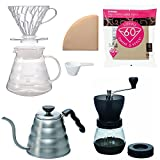 Hario V60 Kettle, Brewer Set, Coffee Mill & 100 Extra Filters - Package Set