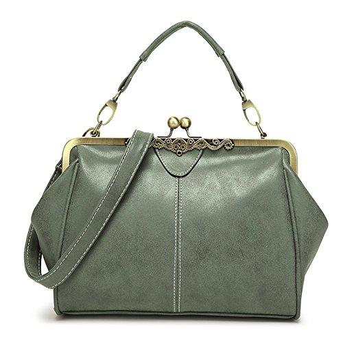 YYW Satchel - Bolso estilo cartera para mujer gris