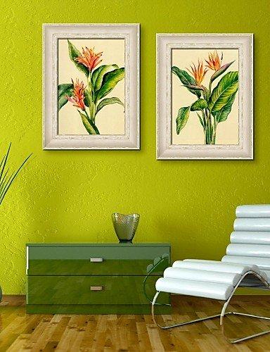 WD la belleza de las flores impresión de lienzo enmarcado juego de 2 ...
