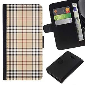 KLONGSHOP // Tirón de la caja Cartera de cuero con ranuras para tarjetas - Patrón Inglés ropa de moda de alta costura de la tela - Sony Xperia M2 //