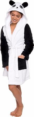 Women's Animal Hooded Robe - Plush Short Panda Bathrobe by Silver Lilly (Black/White XL)