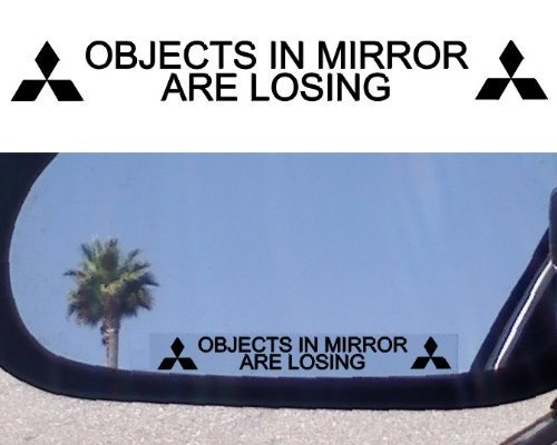 (2) Mirror Decals for MITSUBISHI EVOLUTION X EVO ECLIPSE 3000GT GSR MR LANCER DIAMANTE MIRAGE GALANT LS XLS OUTLANDER ENDEAVOR MONTERO GTS ES GS SPORT GT SPYDER -