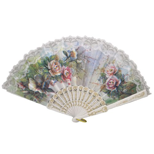 Peony Lace (uxcell® Hollow Out Rib Peony Print Lace Trim Folding Fabric Hand Fan Colored)