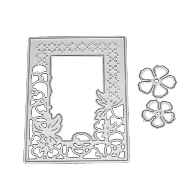 Feida Troqueles de corte, marco rectangular de flores de metal troquelado DIY repujado scrapbook papel tarjeta herramienta - plata: Amazon.es: Hogar