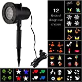 cjc Projector Lights 12 Pattern Gobos Garden Lamp Lighting Waterproof Sparkling Landscape Projection Light for Christmas Halloween Holiday Home Decoration Wall Motion Decoration