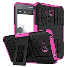 "Tab A 7.0 Inch Back Case DWaybox 2in1 Combo Hybrid Rugged Heavy Duty Armor Hard Cover Case with kickstand for Samsung Galaxy Tab A 7.0 Inch 2016 SM-T280 / T285 / Samsung Tab A6 7.0"" (Hot Pink)"