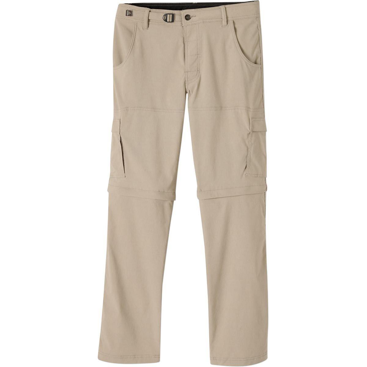 prAna Men's Stretch Zion Convertible 30'' Pants, Dark Khaki, 28W 30L