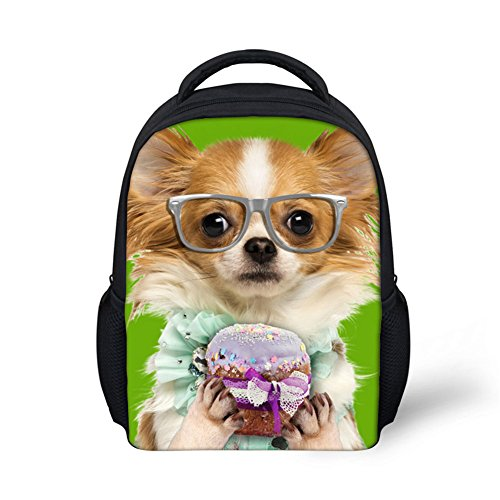HUGSIDEA Funny Pet Dog Papillon Printed Backpack Lightweight Cute Kids Baby Bag