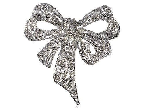 Alilang Silvery Tone Clear Crystal Colored Rhinestones Bow Ribbon Brooch - Bow Brooch Tone