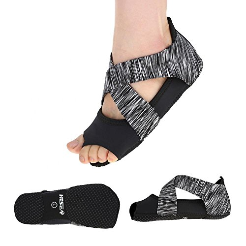 (Yoga Socks,Women Non-slip Pilates Ballet Socks Barre Soft Wrap Dance Training Shoes (Grey, S (35-36)))