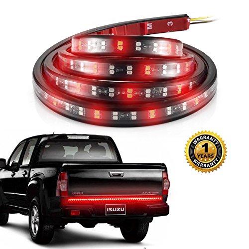 LED Tailgate Light Bars, ProGreen 60'' Truck Double Tail Light Strip 180 Leds IP65 Waterproof No-Drill Install for Running Lights, Brake Lights, Reverse Back up, Turn Signal Lights