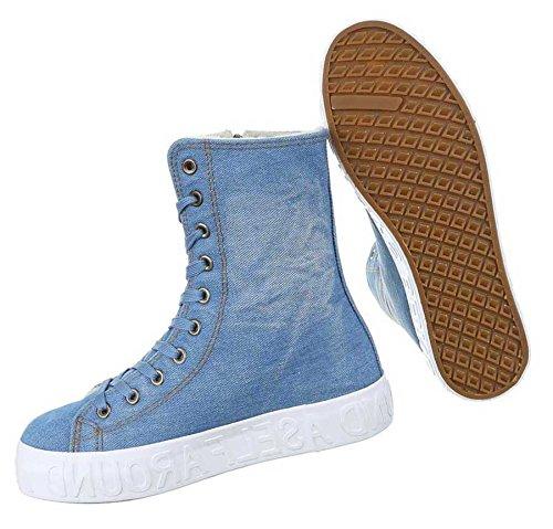 Damen Sneakers Schuhe Freizeitschuhe Blau Hellblau