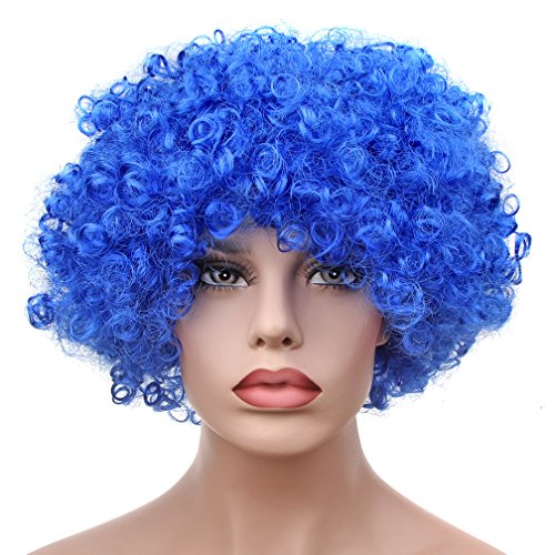 Football Themed Party Costumes (Afro Fluffy Wig Hair Curl Wigs Synthetic Fiber Hairpiece - Party Disco Clown Hair Football Fan Adult Child Costume Wig (royal blue))