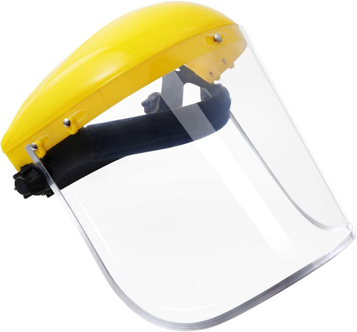 Hemoton Protector Facial de Uso Múltiple Máscara Protectora de Pvc Transparente Sombrero Protector Anti-Saliva (Amarillo)