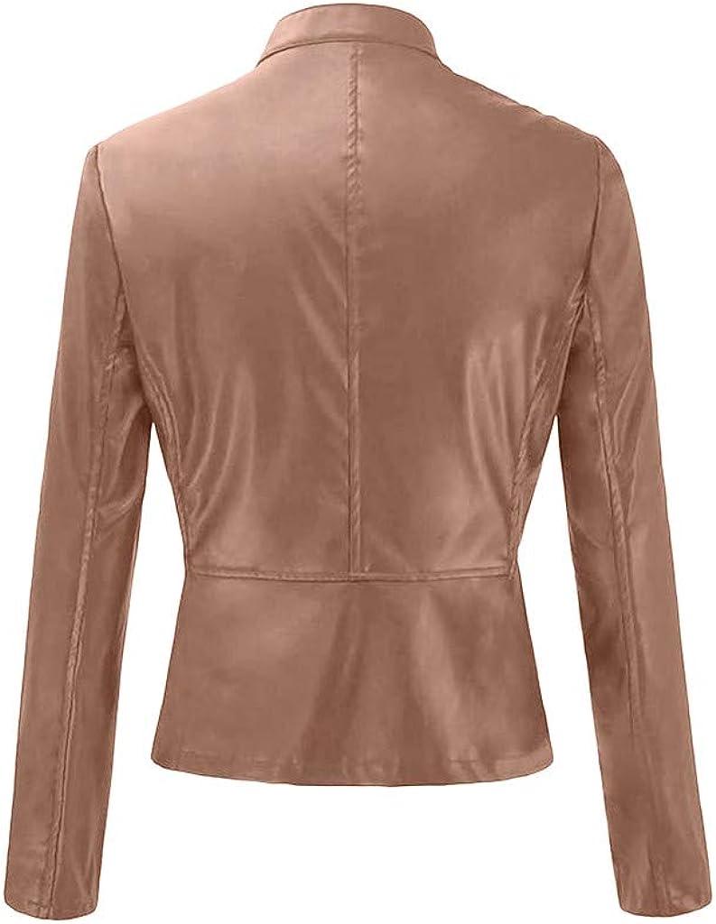 ZSBAYU Fall Jackets for Women Short Thin Punk Motorcycle Coats Long Sleeve Zipper Faux Leather Jacket