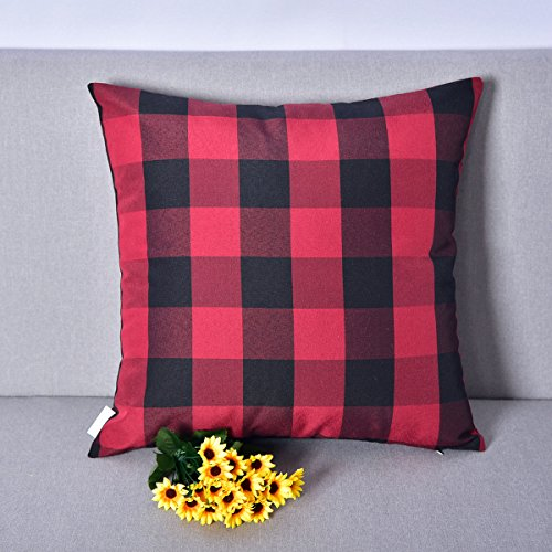 Natus Weaver Red & Black Buffalo Check Plaid Throw Pillow Cover Decorative Cushion Shams Pillowcase for Floor,18 x 18 (Check Sham)