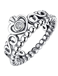 Presentski 925 Sterling Silver Plated Crown Princess Diamond Ring for Women