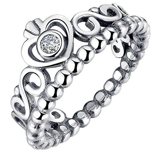 Presentski Simple Fashion 925 Sterling Silver Crown Princess Diamond Ring for Girlfriend (Sterling Silver Crown)
