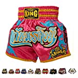 Top King Boxing Muay Thai Shorts Normal or Retro Style Size S, M, L, XL, 3L, 4L (Pink/Light Blue S)