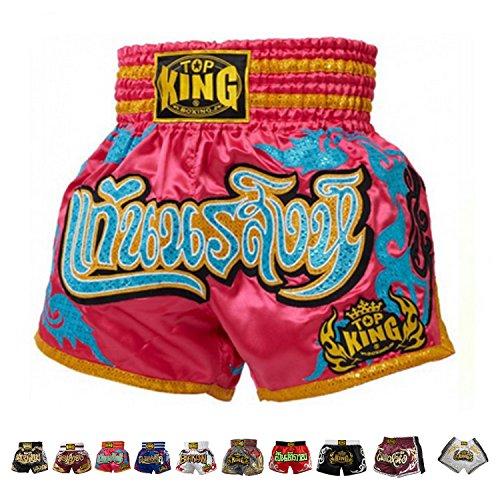 KINGTOP Top King Boxing Muay Thai Shorts Normal or Retro Style Size S, M, L, XL, 3L, 4L (Pink/Light Blue M)