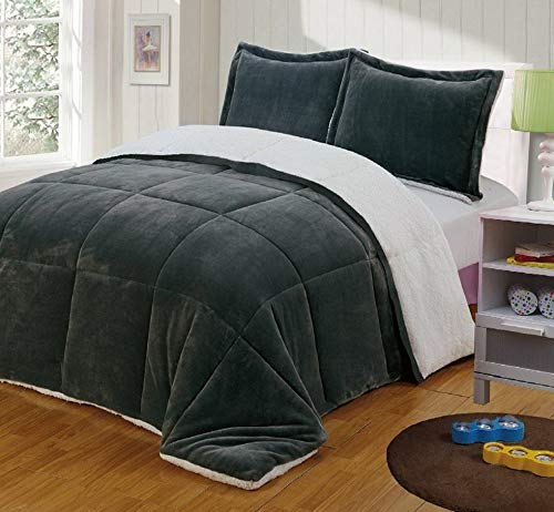 Kaputar 3-Piece Gray Micro-Mink Sherpa Down Alternative Comforter | Model CMFRTRSTS - 8297 | Queen