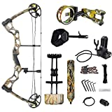 iGlow 40-70 lbs God's Country Late Season Camouflage Camo Archery Hunting Compound Bow with Elite Kit lb Crossbow