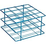 """Bel-Art Scienceware 187940001 Blue Epoxy-Coated Steel Poxygrid 50mL Centrifuge Tube Rack, 6-1/8"""" Length x 5-7/8"""" Width x 3-1/2"""" Height, 16 Places"""
