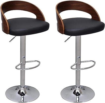 Sedie In Legno Curvato.Vidaxl 2x Sgabello Da Bar Legno Curvato Con Schienale Regolabile
