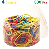 Rubber Bands 300pcs 4 Colours Small Rubber Bands for Office School Home size16 Elastic Hair Band