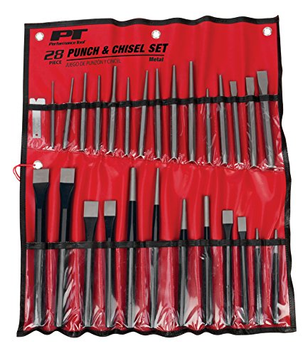 Performance Tool W754 Punch & Chisel 28pc Punch and Chisel Set with Roll-up Vinyl Storage Pouch (Tool Punch Set)