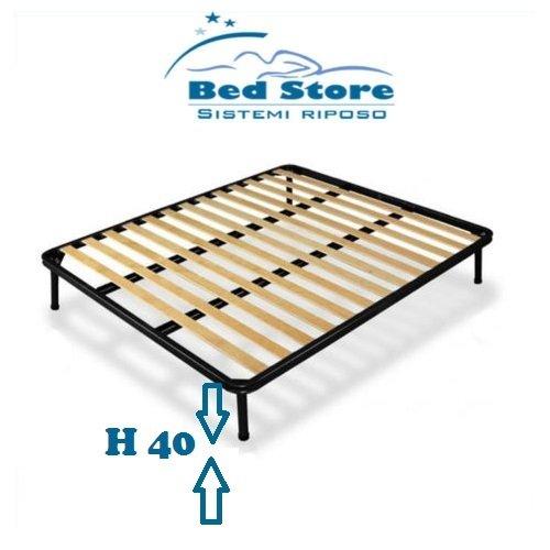 RETE A DOGHE STRETTE MATRIMONIALE 160X200 ORTOPEDICA DOPPIO RINFORZO + CON 4 PIEDI H40 BED STORE