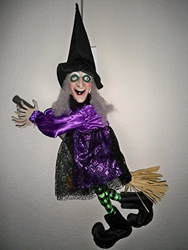 (Animated Flying Talking Witch on Broom Purple and Black)